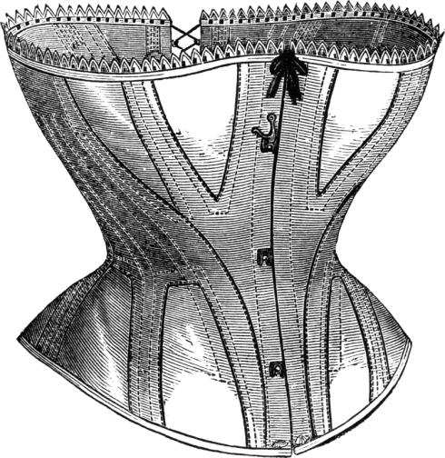 Corset Zeichnung aus Harpers Bezar1869