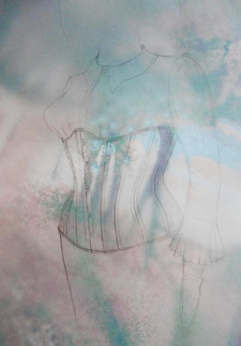 """Korsett-Massanfertigung - Kreation """"Tränen des Eros"""" von Beata Sievi Corset Artist - Entwurf"""